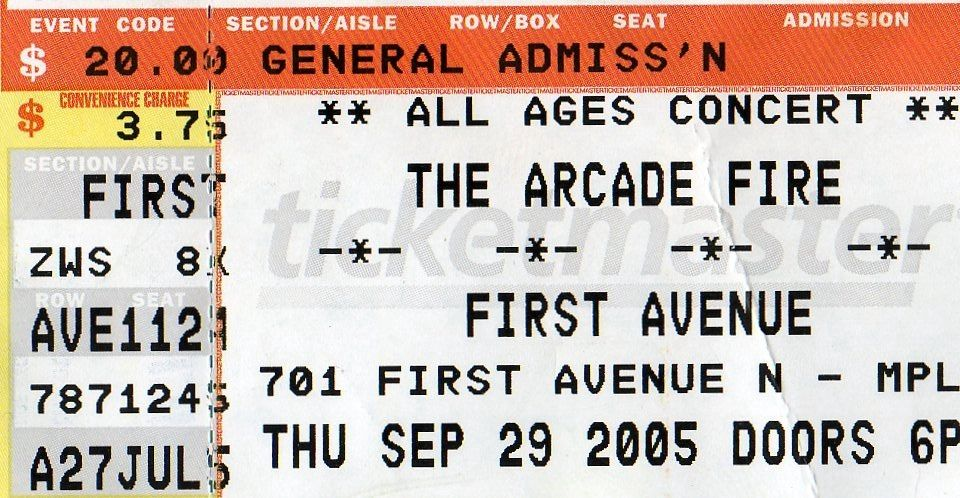Arcade Fire Ticket, Front